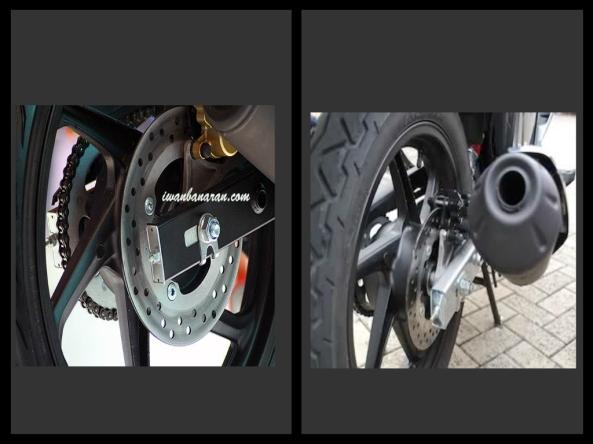 velg belakang CB150R (kiri) dan velg belakang new Megapro (kanan)