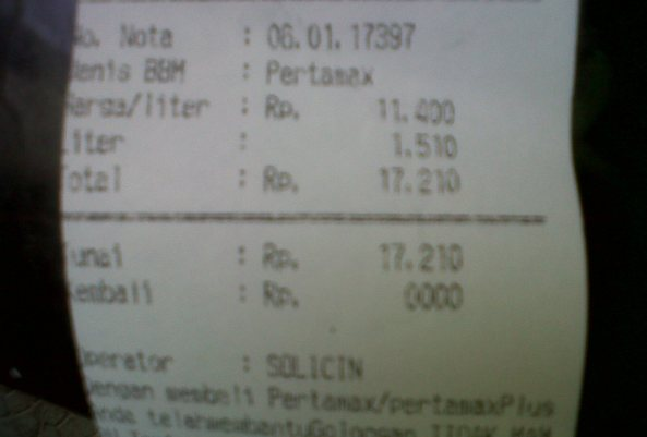 struk pembelian bbm IDR 17.210 alias 1,5 literan